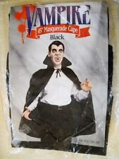 "VINTAGE BLACK 45"" VAMPIRE MASQUERADE CAPE, NIP, ONE SIZE FITS ALL"