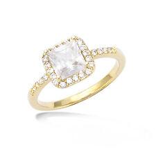 Dolly-Bijoux Bague T60 d'une Marquise Diamant Carré Micro-sertie Plaqué Or 18K