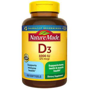 Nature Made Vitamin D3 1000 IU (25 mcg), 650 Softgels - FAST FREE SHIPPING!