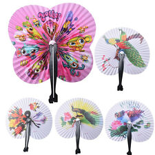 2x Paper Chinese Oriental Folding hand held fans.Ideal size for handbags SG