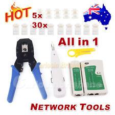 Network LAN RJ45 CAT5E RJ11 PC Cable Tester Kit Crimp Punch Tool Modular Plug