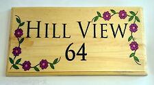 Large House Name or Number Plaque / Sign - Flower Border Home Hotel Door Garden
