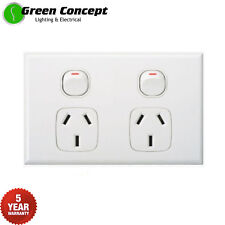 NEW Slim Line Double Power Point GPO Socket Outlet Powerpoint White
