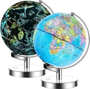 Exerz Illuminated World Globe 2 in 1 LED Light Up Globe Constellation Dia 23CM