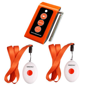 SINGCALL Wireless Calling System Two Call Buttons & Caregiver Pager Nurse Alarm