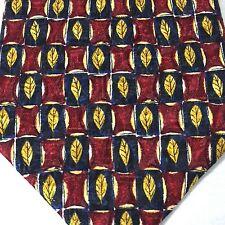 Ermenegildo Zegna Mens Designer Tie Silk Italy Fall Golden Leaves Classy