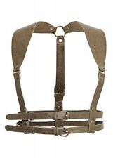 Restyle Brown Wide Strap Faux Leather Steampunk Underbust Gold Buckled Harness