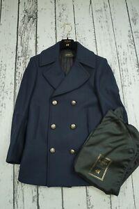 Balmain H&M Peacoat Coat Wool Jacket Giacca Luxury Rare Collab Gold 46 US36R