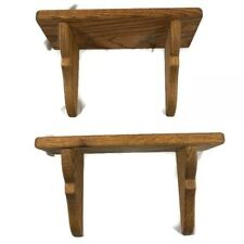 """Vintage Solid Oak Wall Shelf with Plate Groove 12"""" Long Set of 2"""