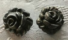 """Vintage Carved Silver Gray Button LOT of 2 Shank Back 1"""""""