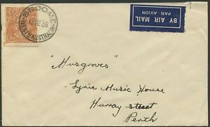 Feb.1935 usage of 5d Chestnut single franking on commercial airmail cover