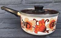 Vintage Floral Saucepan VW Campervan Retro Enamel Brown Orange 1970s Very Small