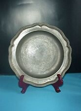 Pewter Antique Plate Dish Marked Block Bach Wavy Edge 1760-90 Angels