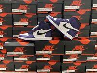 Nike Air Jordan 1 High Court Purple 2020 White Black 555088-500 Men's NEW