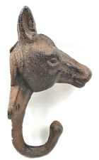 Cast Iron HORSE HEAD Hook Wall Mount Rustic Brown Country Western Barn Home