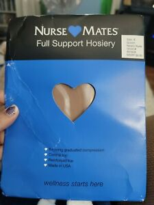 WOMENS NURSE MATES SUPPORT 6MMHG~Nearly Nude~PANTYHOSE NYLONS SIZE E~QUEEN