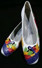 Vintage Margaret Jerrold Fruit Basket Shoes Unique Designer 7 N White Purple
