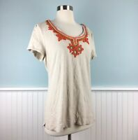 Size Large L Charter Club Embellished Knit Short Sleeve Women's Shirt Top Blouse