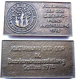 2 große Bronze Barren Kulturbund der DDR zur Münzausstellung 1974 & 1978
