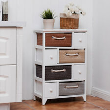 4 Drawer 4 Woven Basket Storage Unit Rack Shelf Chest Cabinet Wood Frame White