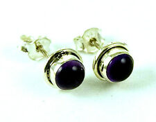 **BEAUTIFUL STERLING SILVER ROUND CABOCHON AMETHYST STUD EARRINGS**