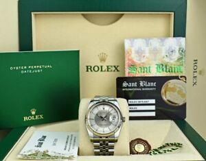 ROLEX REHAUT 36mm White Gold & SS Datejust Silver Bulls Eye 116234 SANT BLANC