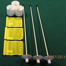PUTTING GREEN PACKAGE - 3 POLES - 3 YELLOW FLAGS -  3 ALUMINUM  CUPS