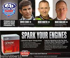 2011 DAVID STARR, MARK MARTIN ADVOCARE 500 HANDOUT /  POSTCARD THIN STOCK