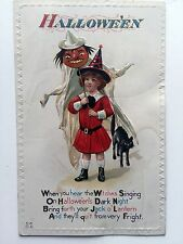 1910 Halloween Postcard Victorian Girl Holding Ghost Costume and Black Cat