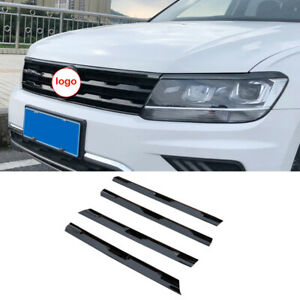 For Volkswagen Tiguan 2017-2021 Black ABS Front Grille Grill Strips Cover Trim