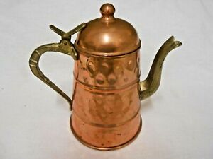 Vintage Hammered  Copper  Tea Pot Kettle with brass spout and handle  & lid lift