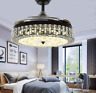 42'' Crystal Chandelier Ceiling Fan Light 3-Color Dimming  Retractable Blades