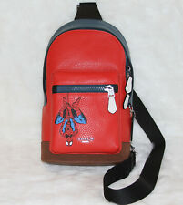 COACH x Marvel West Pack with Spiderman Leather Backpack Bag NWT!