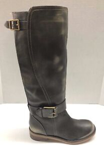 LUCKY BRAND Angelika Gray Leather Buckle Riding Boots Size Women's 6 M