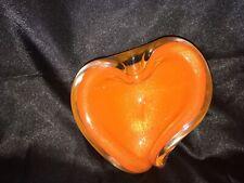 A Elegant 1950's Murano Bullicante Alfredo Barbini Bowl Orange With Gold Flecks