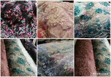 """NEW*deisgner net lace beautifull bead&heavy embroidery floral design fabric 52""""w"""