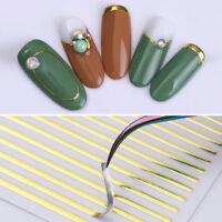 Gold Metall 3D Nagel Aufkleber Linien Streifen Nail Art Übertragung Dekoration