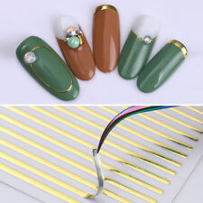 Gold Metal 3D Nail Art Stickers Lines Strip Adhesive Transfer Decals Decoration