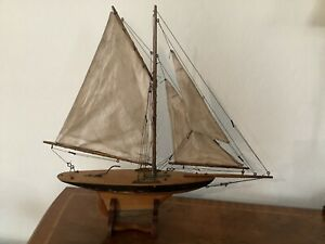 Antique Pond Yacht Sailboat Original Sails with Stand