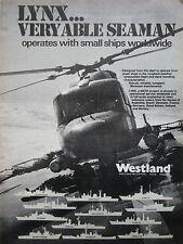 9/1980 PUB WESTLAND HELICOPTER SEA LYNX HMS BIRMINGHAM ROYAL NAVY ORIGINAL AD