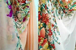 Chiffon Georgette Double Floral Border  Sewing  Fabric Material