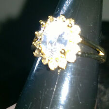 YELLOW GOLD FILLED  WHITE CUBIC ZIRCONIAN CLUSTER RING SIZE M