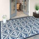 New Navy Blue Geometric Outdoor Rugs Garden Patio Area Mat Flatweave Plastic Mat