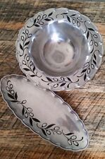 """Lenox Holloware En Provence 13"""" Round Serving Bowl and 17"""" Bread Tray - lot of 2"""