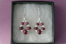 Beautiful Silver Earrings With Faceted Indian Ruby 4.1 Gr.3 Cm.Long + Hooks
