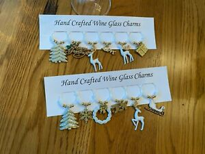 """""""White christmas"""" set of 12 hand crafted Wine glass drink marker Charms"""