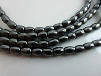 Hematite Oval Rice Beads 6mm x 4mm Black Non-Magnetic - 1 Strand (70 beads)
