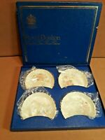 "Vintage Set of 4 in Box ROYAL DOULTON ""CANTON"" Coasters 3 1/2"" x 5/8"" Deep"