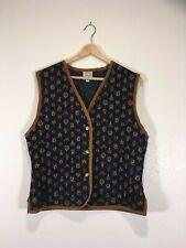 G.H. Bass Women's Equestrian Crest Navy Suede Trim Vest Size M (CL1)