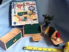 SOLID WOOD 7 Piece LIVING ROOM SET  FOR DOLL HOUSE GUC INCLUDES ORIGINAL BOX